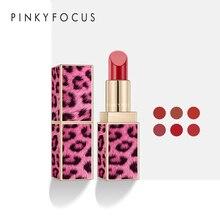 Pudaier Pink Leopard Matte Lipstick 6 Colors Waterproof Velvet Stick L