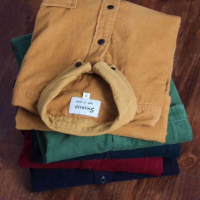 Spring Men Corduroy Shirt 100% Cotton Long Sleeves Bottoming Shirt Slim Wine Red High Quality 4XL