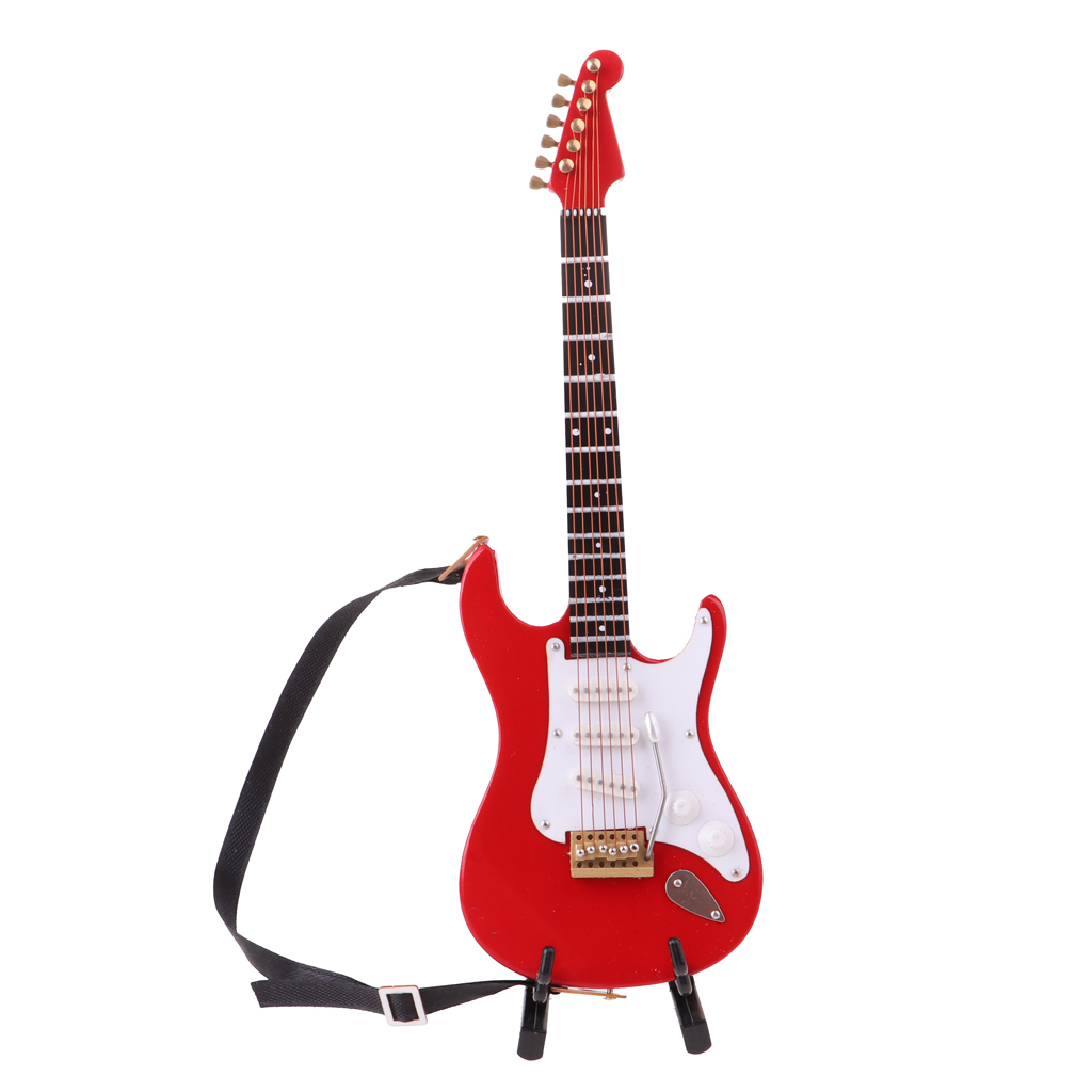 Pack 3pcs 1/6 Scale Wooden Electric Guitar Musical Instruments Replica Model with Strap Stand Case for 12inch Action Figure