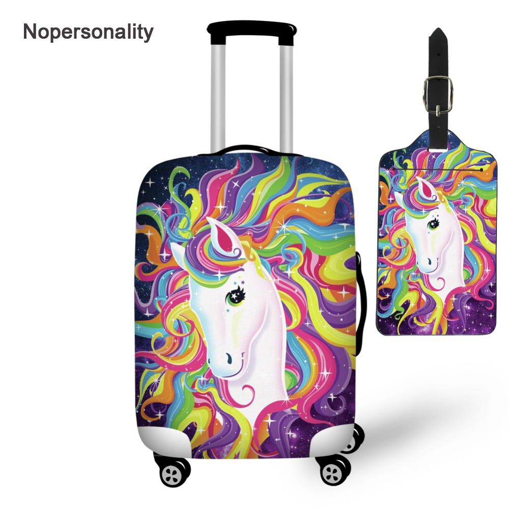 Nopersonality Cartoon Unicorn Luggage Protective Dust Cover Elastic 18-32inch Waterproof Trolley Suitcase Cover And Luggage Tags