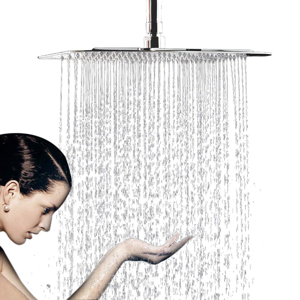 12 Inch Large Square Rain Showerhead, Stainless Steel High Pressure Shower Head with Polish Chrome Finish, Ultra Thin Waterfall flow ristrictor air booster 25% water save polish chrome stainless steel square high pressure 12 inch rain shower head