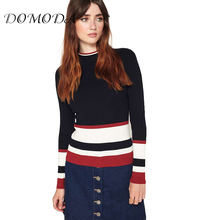 DOMODA Striped Color Block Contrast Women Sweaters O-neck Full Sleeve Kniteed Lady Tops Slim Casual Female Pullovers