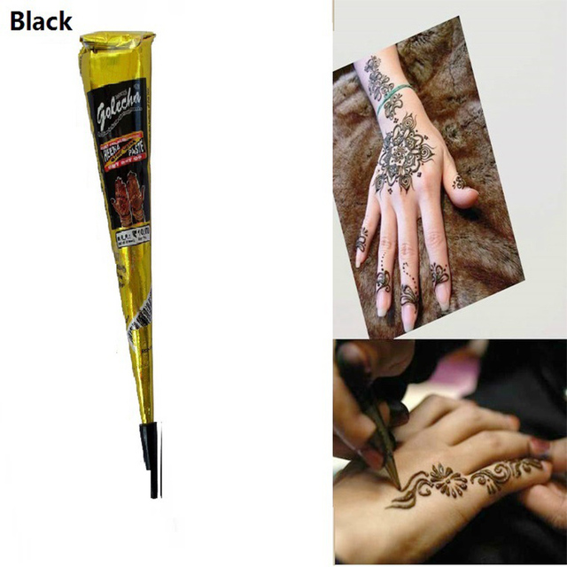 Henna Tattoo Paint Cone Black DIY Body Hand Drawing Waterproof ...