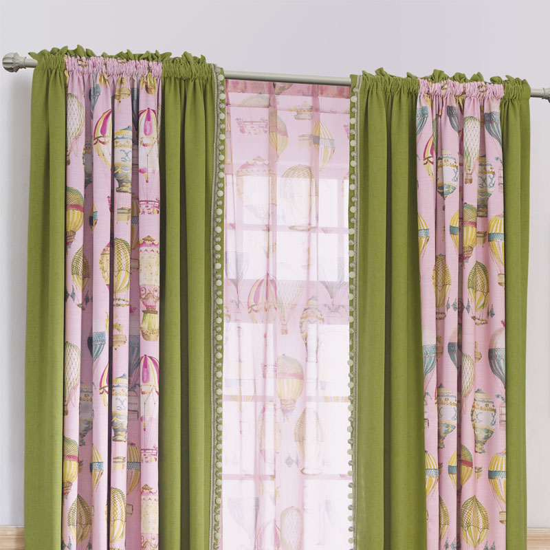 Lace Bedroom Window Curtains Children Room Semi Blackout Baby Kid Home  Panels Green Pink Boy Girl Drapes Cartoon Room Darkening In Curtains From  Home ...