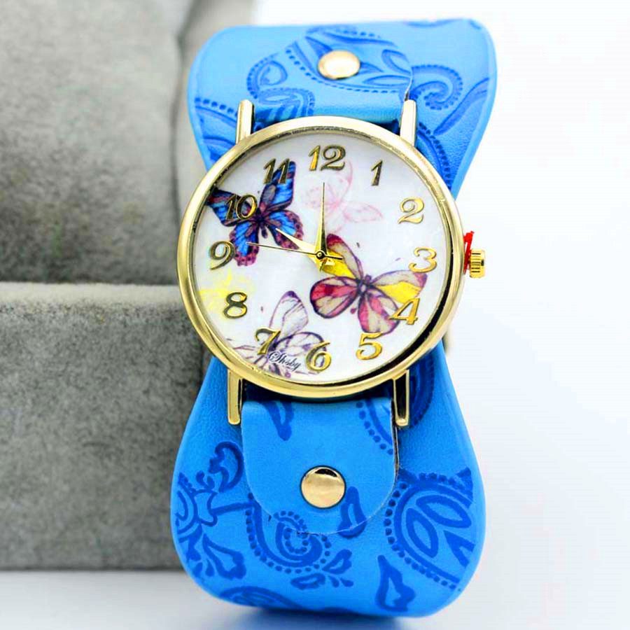 Shsby New Arrival Printed Leather Bracelet Wristwatch Wide Band Dress Watch Multifarious Flowers Women Casual Watch Girl's Gift