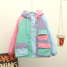 Cute Warm Winter Outerwear Harajuku Patchwork Candy Colors Block Women's Coat Pockets Thickening Honey Cotton-padded Jackets
