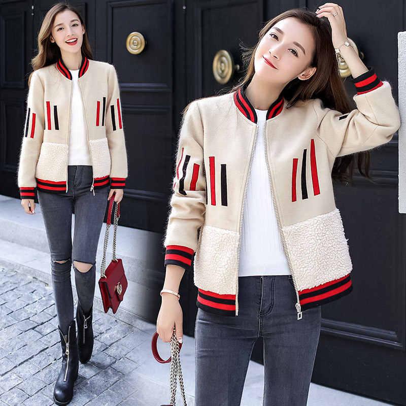 Шерстяная Куртка женская 2018 Осень Зима Новая корейская короткая бейсбольная форма Студенческая из шерсти ягнёнка, кашемир шерстяное пальто LQ295