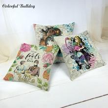 Fairy Tale Cushion Cover Little Girl Flamingo English Letter Background Rabbit Cup Poker Princess Skirt Home Car Decor Pillowcas