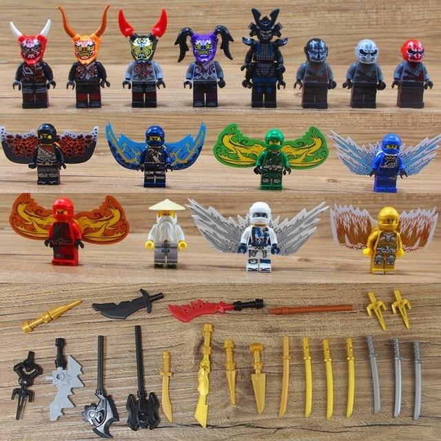 2018 Nova Legoing Figuras Ninjago Lloyd COLE JAY KAI ZANE Wu Jade Princesa FILHOS Máscaras DE GARMADON Blocos de Construção Criança brinquedos dos miúdos