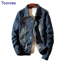 2017 Autumn Men Denim Jacket Slim Jeans Coats Male Denim Tops Fashion Streewear Vintage Hole Outfit
