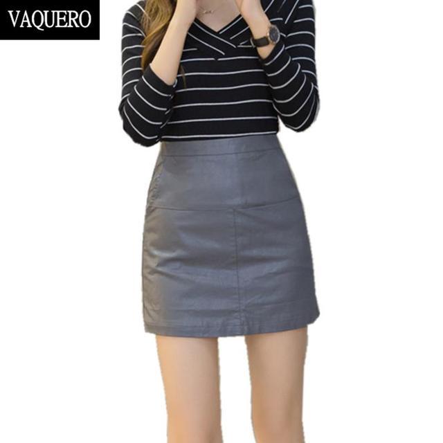 Invierno de la alta cintura de imitación de cuero de LA PU falda delgada Elegante Una Línea de faldas lápiz Ocasional negro Gris Patchwork falda corta