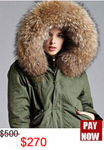 Factory wholesale price Women's Vintage Retro Fur Hooded Military Parka Jacket Coat with pink lined and collar fur mr 21