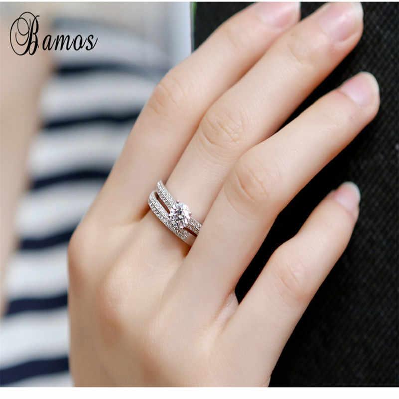 Bamos Marca Pequena Fêmea Rodada Conjunto Anel de Zircão Anel de Moda Branco/Rose Gold Filled Jóias Promessa Anéis de Noivado Para mulheres