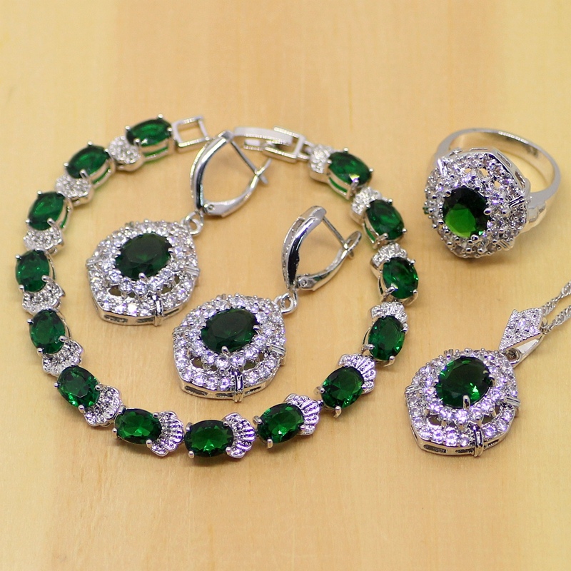 925 Sterling Silver Jewelry Green Created Emerald White Zircon Jewelry Sets Women Earrings Pendant Necklace Rings