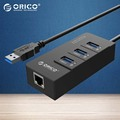 ORICO HR01-U3-BK USB3.0 HUB Splitter with External RJ45 Gigabit Network Card-Black