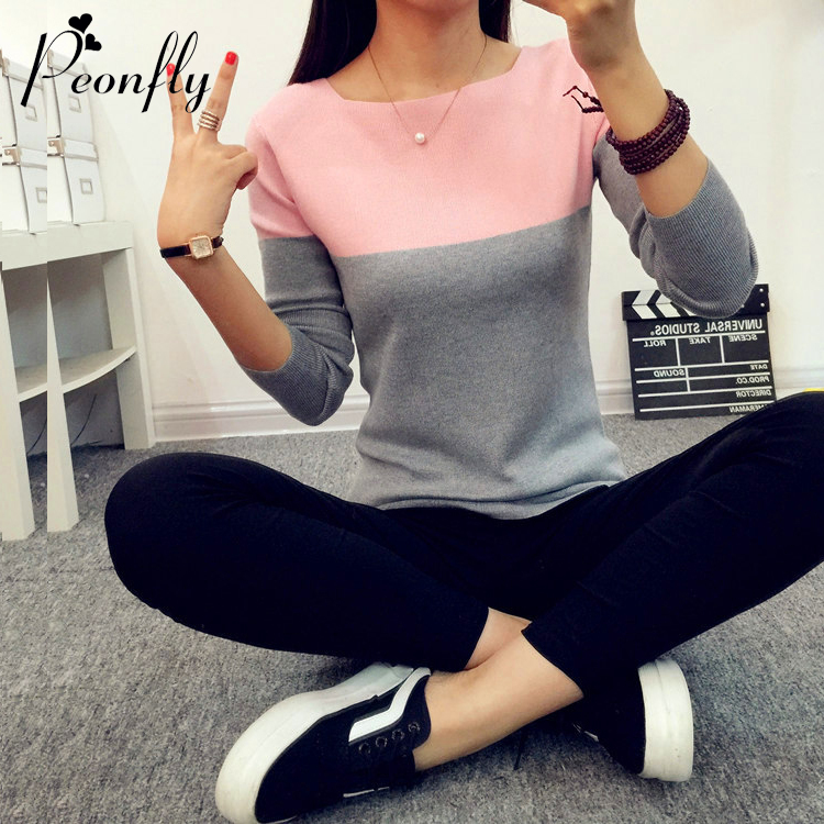 High Elastic Knitted Sweater Women Spring Autumn Split Women Sweaters And Pullovers Female Pink Tricot Jumper Pull Femme
