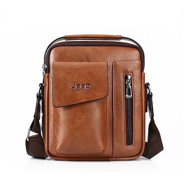 Jeep Buluo Fashion Men Soft Leather Single Shoulder Bag Skew Spanning Male Handbag Business
