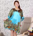 Novidade Noite de Verão Luz Azul Faux Seda Rayon das Mulheres Chinesas Robe de Banho Vestido de Yukata Camisola Pijama Mujer One Size Xsz664X