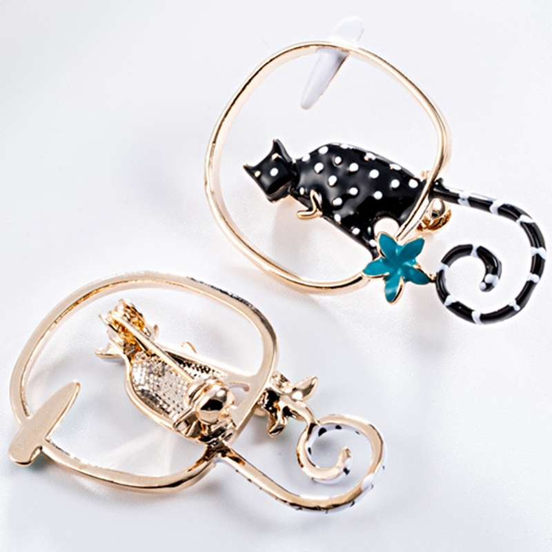 European And American Fashion Creative Jewelry Wild Personality Handmade Drip Cat Brooch Brooch in Brooches from Jewelry Accessories