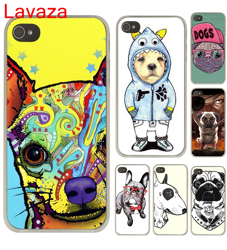 Lavaza Tattooed Bullterrier Cute dog Biaoqing Hard Transparent Case Cover for iPhone 4 4S