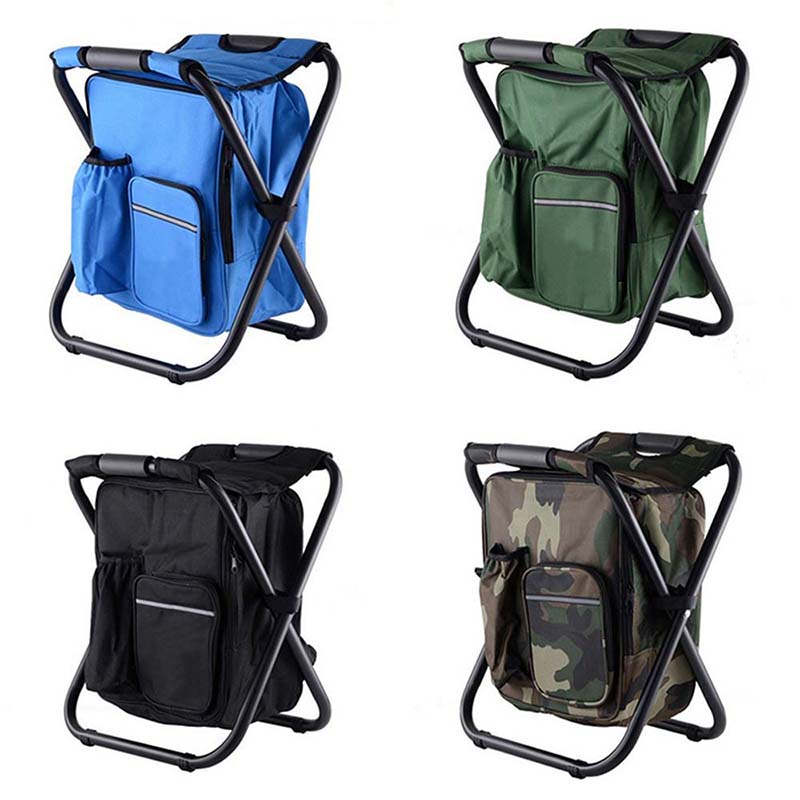 Furniture Portable Folding Camping Chair Backpack Outdoor Multi-functional Foldable Beach Chair Gardening Toolkit Fishing Chairs Folding Beach Chairs