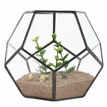 Black Glass Pentagon Geometric Terrarium Container Window Sill Decor Flower Pot Balcony Planter Diy Display Box (No Plant)