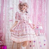 Sweet Original Lolita Dress Women Sweetheart Short Sleeve Dress Japanese Lolita Lace Ruffle Pink Princess Dresses T691