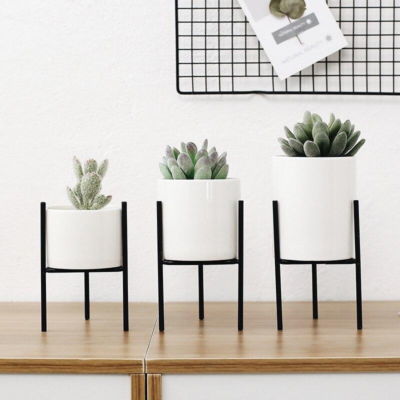 Ensemble de 3 pcs Minimaliste Fleur Planteurs avec Étagère En Fer Blanc En Céramique Plante Succulente Pot Maison DecorFlower Vase sans Trou