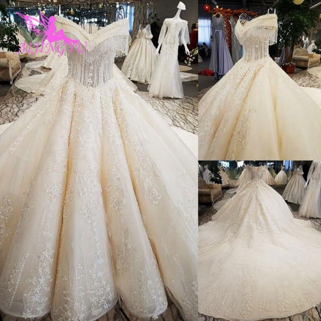 AIJINGYU boutique en ligne chinoise robes avec papillon paillettes scintillantes remises états unis robes de mariée islamiques