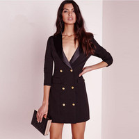 Double Breasted Formal Sexy Black V Neck Long Sleeve Vestido Office Dress Summer Robe Femme Lady