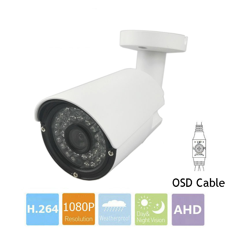CCTV Camera With OSD Cable CMOS 1MP 2MP SONY IMX323 AHD Camera 720P 1080P Outdoor Waterproof Bullet Security Camera For AHD DVR cctv camera 2 8mm lens cmos 1000tvl security camera with osd menu