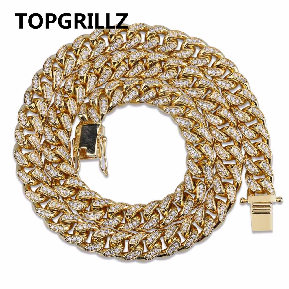 TOPGRILLZ Miami Cuban Chain 10mm Necklace Charm For Men Gold Silver Color Iced Out Micro Pave Cubic Zircon Hip Hop Jewelry Gifts new zircon bracelets men jewelry cubic micro pave cz crown charm