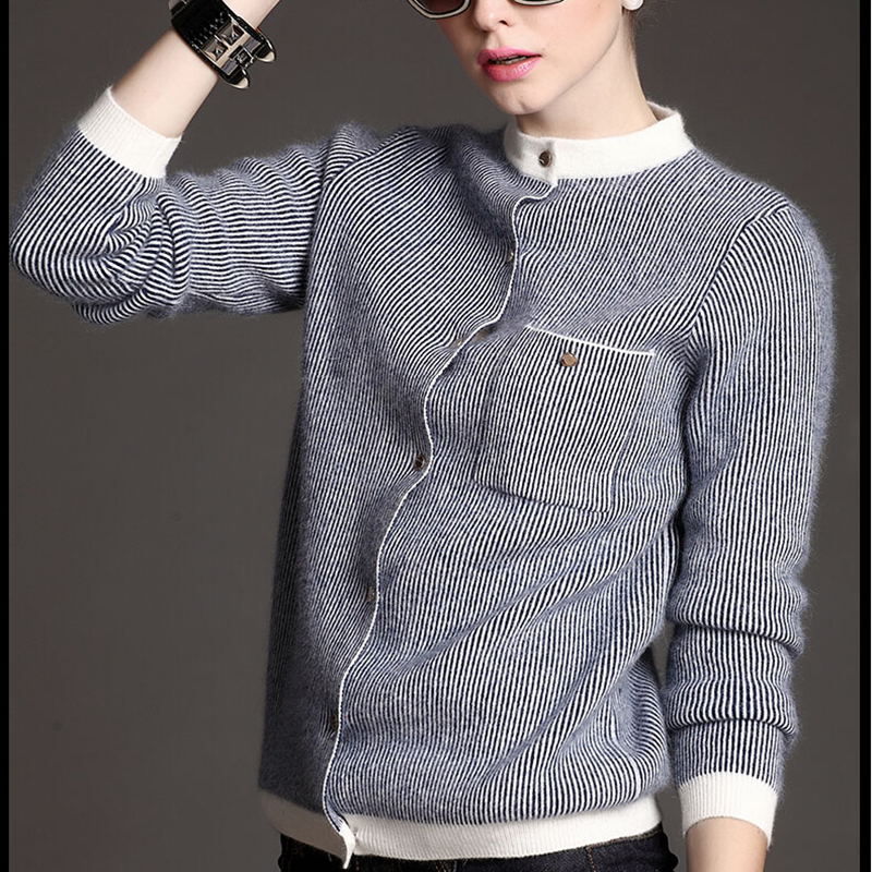 Women's Cashmere Autumn Winter Stripe Cardigan Sweater Wool Elastic Sweaters Slim Tight Bottoming Knitted Cardigans