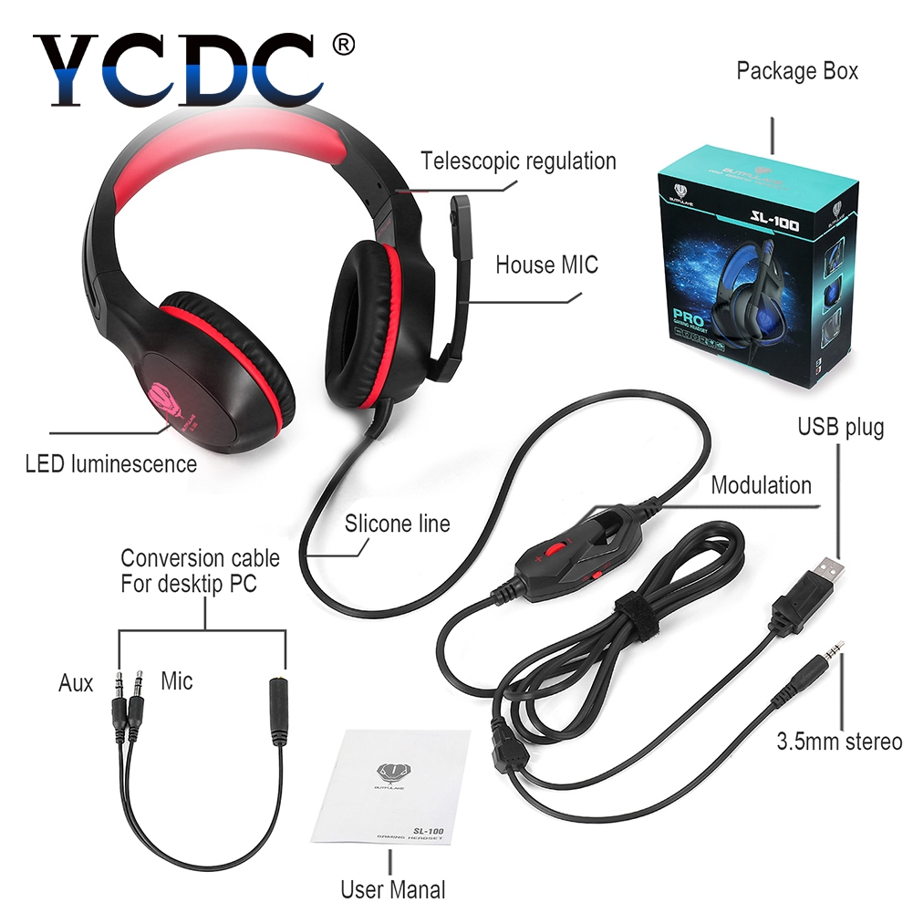 Red Blue Gaming Headphone with Microphone Volume Control Headset 3.5mm Plug Steelseries Auriculares Gamer PC Laptop PS4 LED laptop pc gaming headphone with microphone for ps4 xiomi xaomi laptop gamer big headset 3 5mm high quality earphone mp3 earpiece