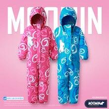 MOOMIN/2018 Новое поступление, детский зимний комбинезон, непромокаемый комбинезон на пуговицах с длинными рукавами, детский комбинезон в полоску, розовый комбинезон для маленьких девочек