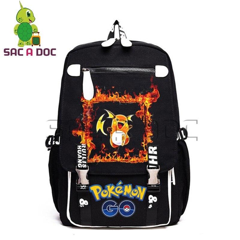 Flamme Pokemon Pikachu Gengar Cosplay sac à dos pour adolescents toile sac à dos femmes hommes voyage toile sac à dos pour ordinateur portable