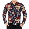 Hombres's Camisa de La Flor 2016 Otoño Impresión de La Moda Camisas de Manga Larga los hombres de Lujo de Alta Calidad Para Hombre Casual Camisa de Trabajo Camisas de Oficina 7XL