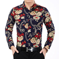 Men's Flower Shirt 2016 Autumn Fashion Print Long Sleeve Shirts Men High Quality Luxury Mens Casual Shirt Work Office Shirts 7XL