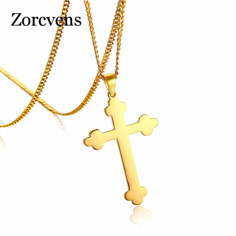 ZORCVENS Gold Silver Color Eastern Orthodox Cross Necklace Pendant Mens Jewelry 316L Stainless Steel Crucifix Necklace Jewelry