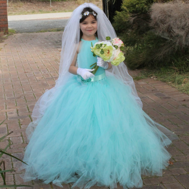 7ae362b60f2 Bright Aqua Flower Girl Tutu Dress Wedding Tutu Flower Girl Summer Princess  Costume Flower Kids Clothes Girls Party Dress