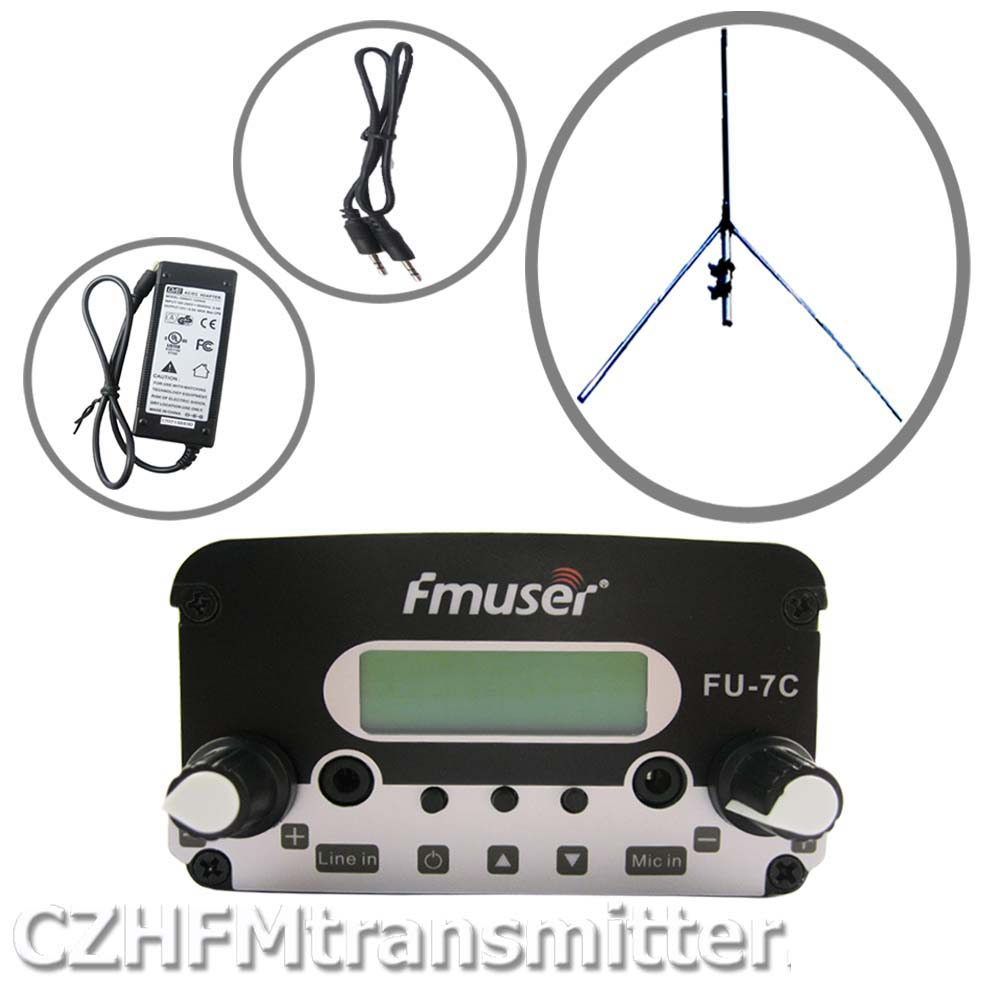 FMUSER FU-7C 7w stereo PLL broadcast transmitter 1/4 wave GP antenna Powersupply 76MHz-108MHz cze 7c 7watt stereo lcd broadcast radio station fm transmitter 12v adapter antenna cable