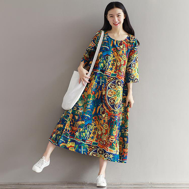 113a4e45015 Cotton Linen Women s Girls Summer Dress 2018 Vintage Ethnic Printing Robe  Femme Loose Casual Plus Size