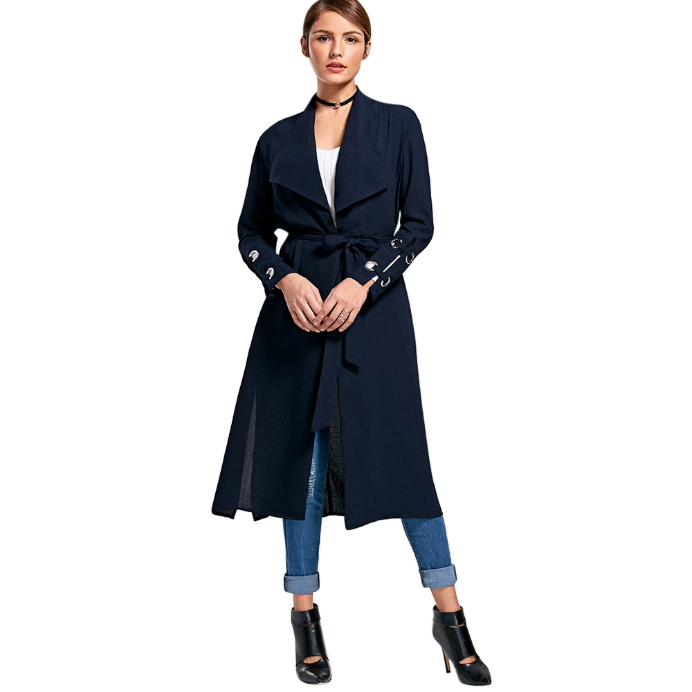 LANGSTAR Women New Belted Waterfall   Trench   Coat Long Overcoat Lady Clothing Long Sleeve Turn-Down Collar Female Coat Fashion