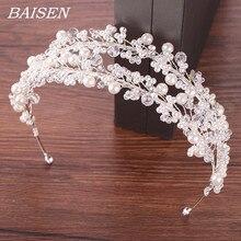 Beyaz İnci gelin Hairbands Tiaras düğün taç gelin saç takı İnci düğün saç aksesuarları şapkalar