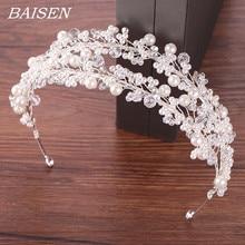 Witte Parel Bruids Haarbanden Tiara Wedding Crown Hoofdband Voor Bruid Haar Sieraden Parel Bruiloft Haar Accessoires Hoofddeksels