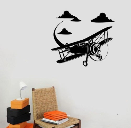 Vinyl Airplane Aircraft Wall Sticker Home Decoration Children Room Wall Mural Art Plane Avation Wall Decals for boys decorW-920 ...