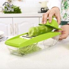 TTLIFE Ajustable Mandoline Slicer Cortador de Verduras Contenedor de Alimentos con 5 Cuchillas Intercambiables de Acero Inoxidable máquina de Cortar