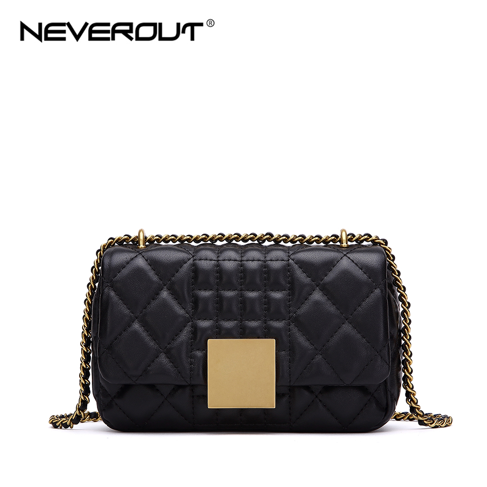 NEVEROUT Women Messenger Bags Soft Real Leather Luxury Chain Bag Solid Fashion Mini Sheepskin Cross Body Bag Designer Handbag