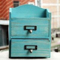 Handicraft Home Organizer Retro Desktop Wooden Storage Box Jewelry Box Wooden Cosmetic Box Sundries Box Furnishing Articles