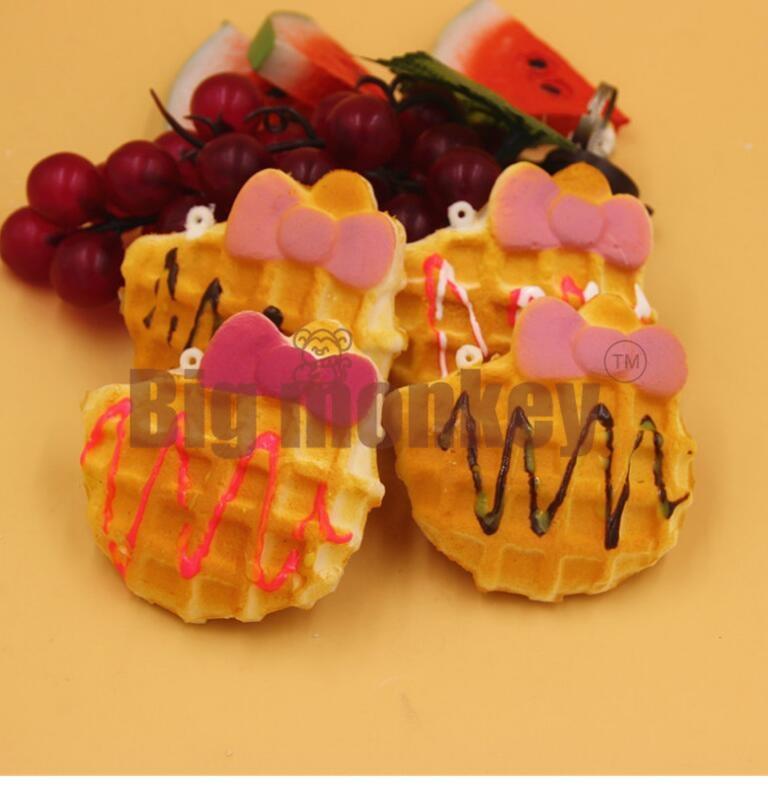 imágenes para Mono grande Nueva PU Del Gatito Arco Waffle Cake Encanto Blando/Decoraciones Del Bolso/los Juguetes de la Descompresión 20 unids